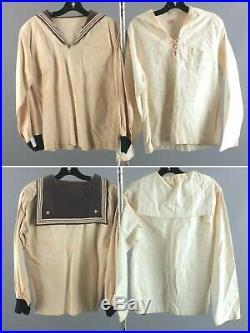 Vtg Lot of 10 Men's Pre WWII Navy Uniform Shirts Tops 1930s WW2 USN