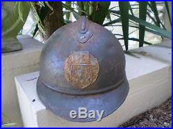 WW1 Czech M15 French Adrian steel helmet with badge