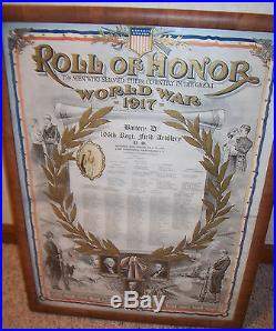WW1 US Army 27th Div Btry D 106 Field Artillery NY National Guard Roll of Honor