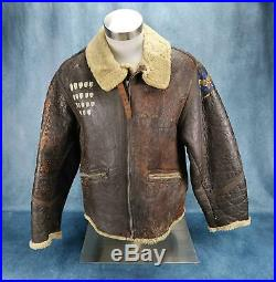 WW2 officer US Army Air Force Corp leather D1 bomber jacket USAF DAKOTA QUEEN