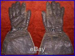 Wonderful 1920s-1930s Motorcyclist or Aviator Gauntlet Gloves by Walrath