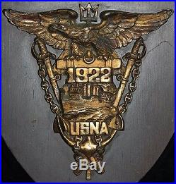 Wonderful Large Bronze & Wood 1922 USNA Annapolis Class Plaque